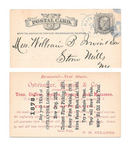 UX5 Postal Card 1878 Blue Watertown NY Fancy Cancel Ostrander Advert Teas - $35.00