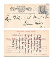UX5 Postal Card 1878 Blue Watertown NY Fancy Cancel Ostrander Advert Teas - $35.00