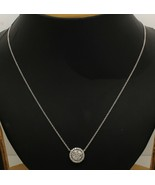 """0.55 CT Round Cut Real Diamond 14K White Gold Over Cluster Pendant 18"""" C... - $185.12"""