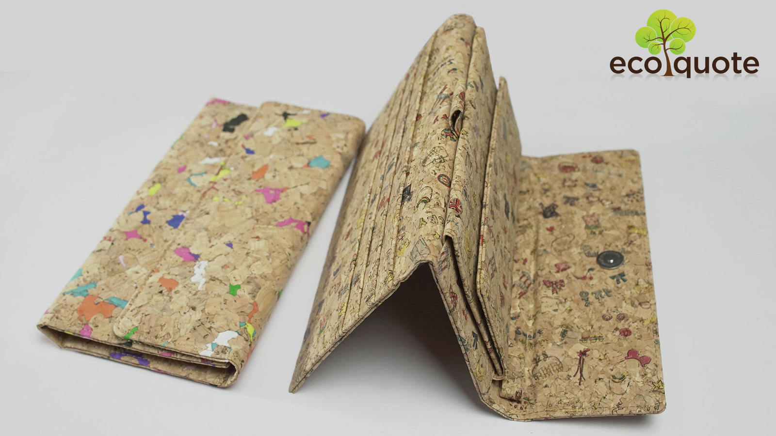 EcoQuote EcoFriendly Handmade Tri Fold Letter Long Wallet Wristlet Cork Material