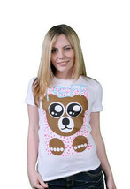 Neff Womens White Teddy Bear T-Shirt Small or Medium NWT image 2