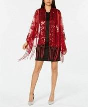 INC International Concepts Floral Sequined Fringe Evening Wrap, Red - $19.80