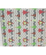 "Peva Flannel Back Tablecloth,52"" x 70"" Oblong, CHRISTMAS TREES ON GREY, ... - $14.84"