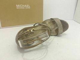 Michael Kors Simone Women Evening Platform High Heels Sandals 6.5 Silver Glitter image 8