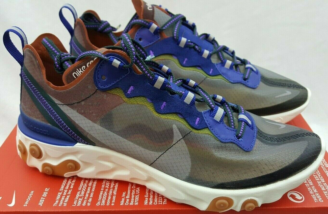 Nike React Element 87 ISPA Dusty Peach Gray Shoes Sneakers AQ1090-200 Size 7.5