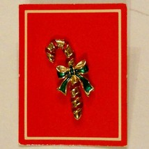Avon Candy Cane Pin New in Box 1986 Vintage Christmas Red / Green Jewelry - $13.83