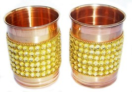 Pure Copper Golden Crystal Studded Glass Set of 2 - $20.23