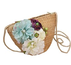Georgeous Beach Bag Peony Flower Straw Cross-Body Bag