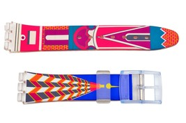 Swatch Replacement 17mm Plastic Watch Band Strap Building Design - $9.85