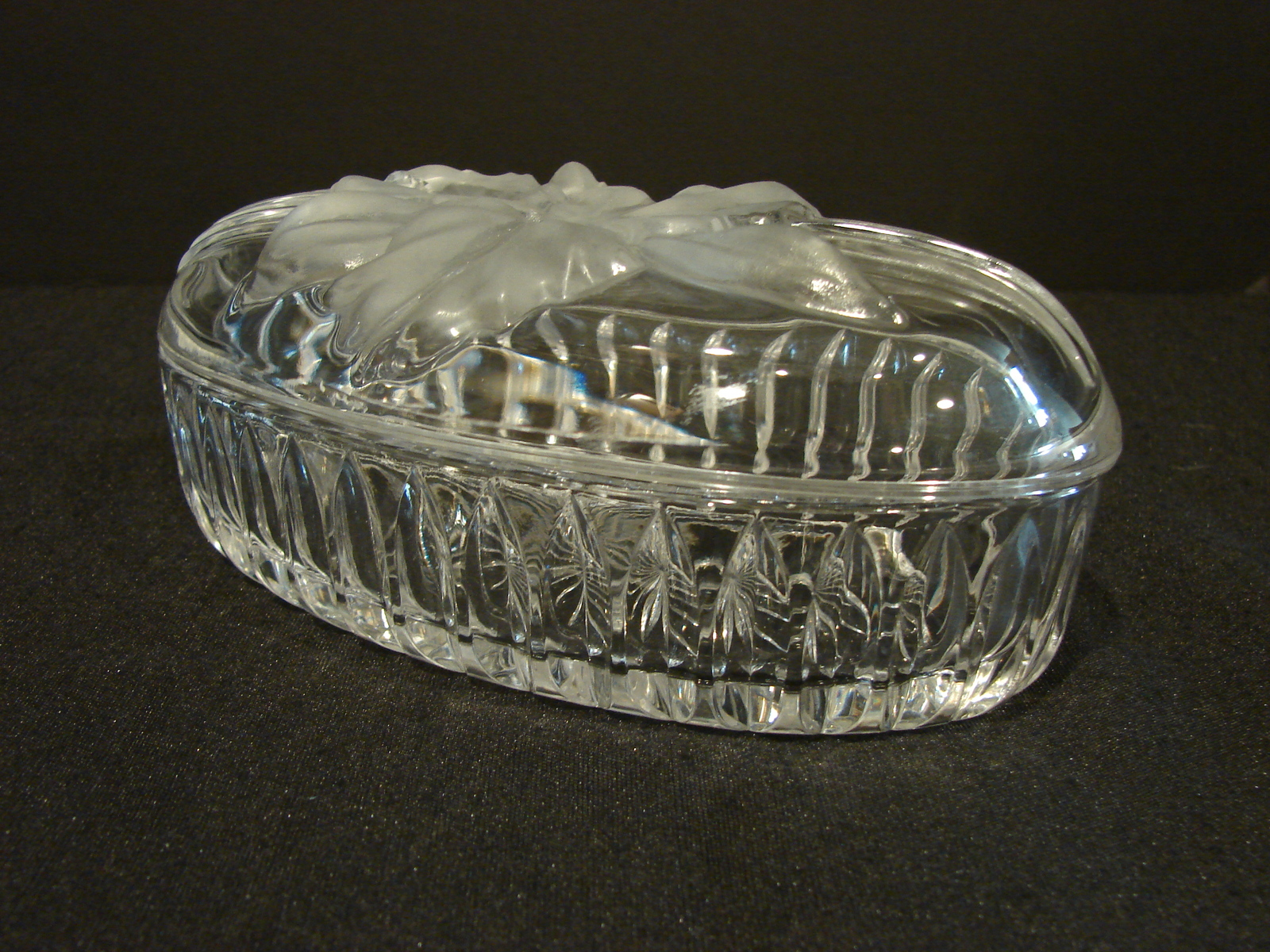 Primary image for Long Oval Crystal Lidded Trinket Box Frosted Flower on Lid