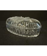 Long Oval Crystal Lidded Trinket Box Frosted Flower on Lid - $7.99