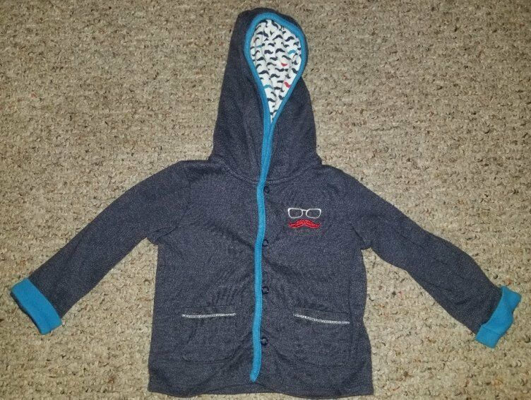 ABSORBA Blue Mustache Hooded Snap Front Jacket Boys Size 18 months - $1.88