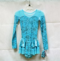 Mondor Model 2765 Girls Skating Dress - Aqua Flowers Size Child 12-14 - $90.00