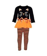 Unique Baby Girls Black Cat Halloween Outfit with Bows and Stripes (4T/M... - $26.99