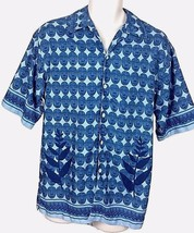 Arizona Jeans Co. Men's Sz Small Blue Tribal Mask Button Front Shirt - $13.85