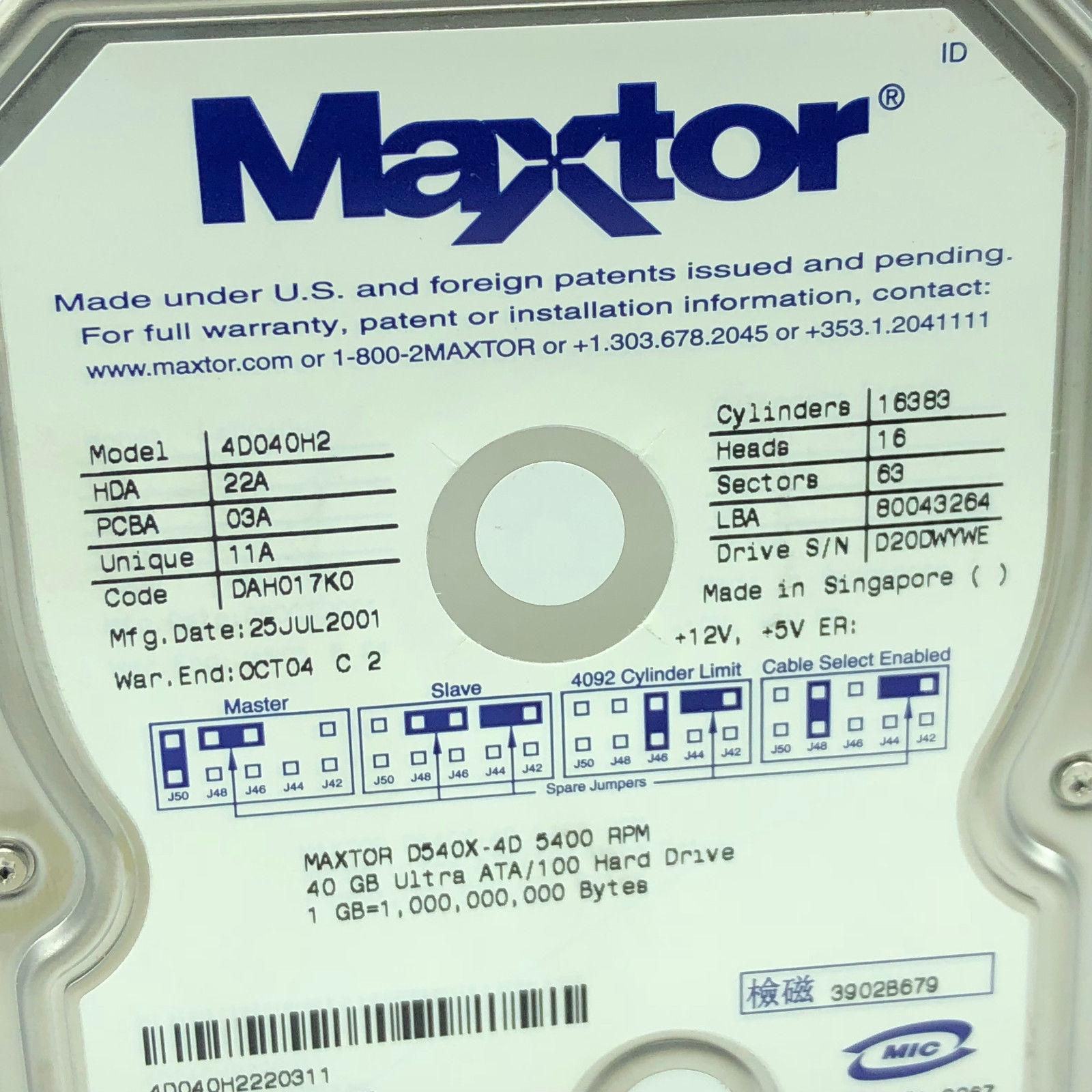 4d040h2 driver maxtor