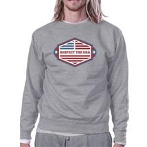 Respect The USA Unisex Gray Sweatshirt Crewneck Pullover Fleece - $20.99+