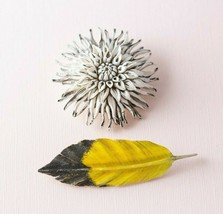Vintage Carved Artisan Wood Feather and Flower Pin Lot Yellow White Nature - $11.88