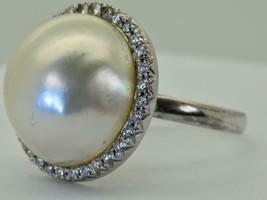 Rare vintage Art-Deco 18k w.gold, Diamonds,large 15mm natural Sea Pearl ring - $1,500.00