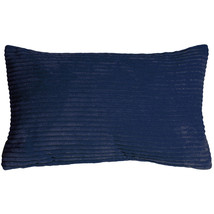 Pillow Decor - Wide Wale Corduroy 12x20 Dark Blue Throw Pillow - £22.86 GBP