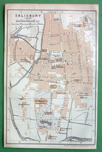 1906 Baedeker Map - ENGLAND Salisbury Town Plan + Railways - $3.37