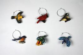 Birds Wine Glass Charms Set 6 Cardinal Hummingbird Bluebird Gold Finch B... - $12.60