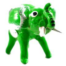 Handmade Oaxaca Copal Wood Carving Folk Art Green Elephant Bobble Tail Figurine image 5