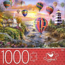 1000-PIECE Hot Air Balloons Over Cottage Lighthouse Jigsaw Puzzle SAME-D... - $14.60