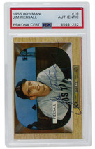 Jim Piersall Signed 1955 Bowman #16 Boston Red Sox Baseball Card PSA/DNA - $87.29