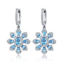 4.5ct Natural Stone Blue Topaz Sterling Silver Shining Flower Hoop Earrings - $128.99