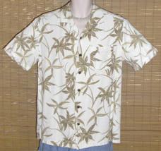 Caribbean Joe Hawaiian Shirt White with tan palm leaves Small - $19.95