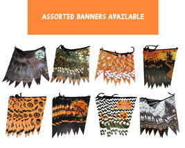 4pk Halloween Spooky Haunted House Party Decoration Assorted Pennant 8ft... - $9.46