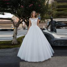 Tailor Made Scoop Lace Appliques Ribbon Wedding Dresses With Ribbon Waist image 2