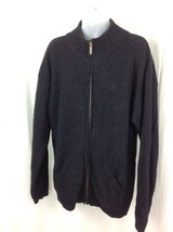 Eddie Bauer Sz. Large Men Full Zip Black 100% Wool Knit Sweater Jacket W Pockets - $34.36
