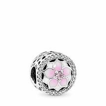 PANDORA Magnolia Bloom Charm, Sterling Silver, Pale Cerise Enamel, Pink & - $85.12