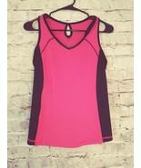 Women's Tek Gear sleeveless support bra,pink/black tank athletic top siz... - $10.39