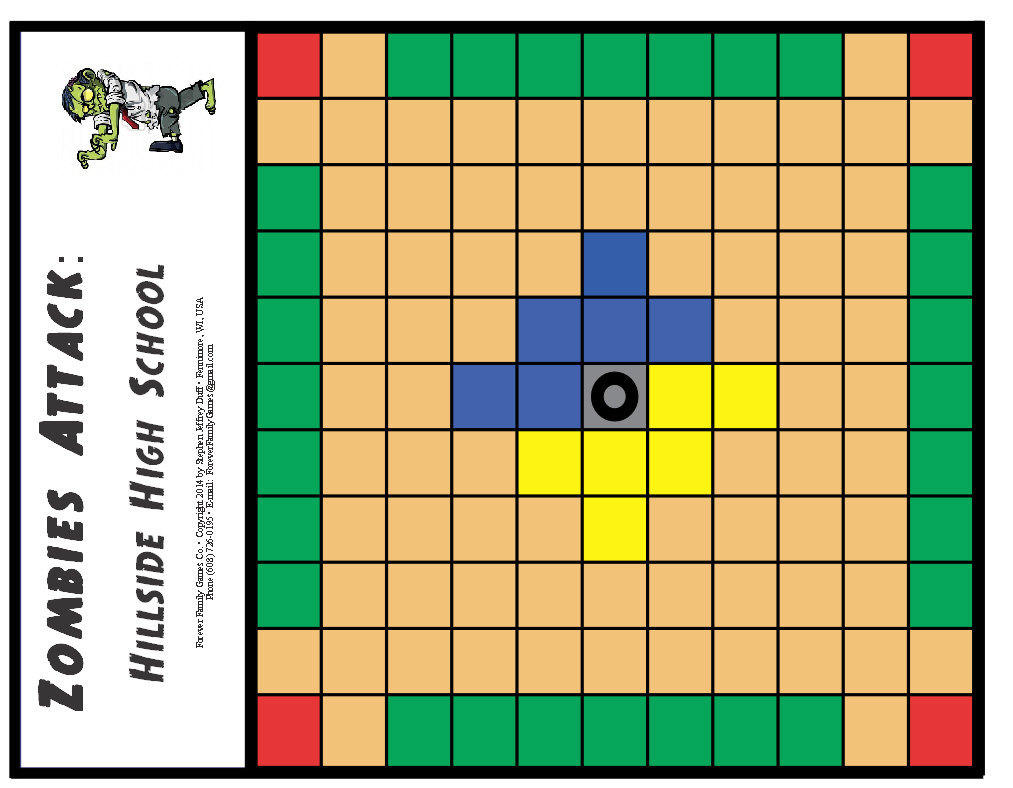 ZOMBIES ATTACK: Hilltop High School board game for age 8+, based on Viking Hnefa