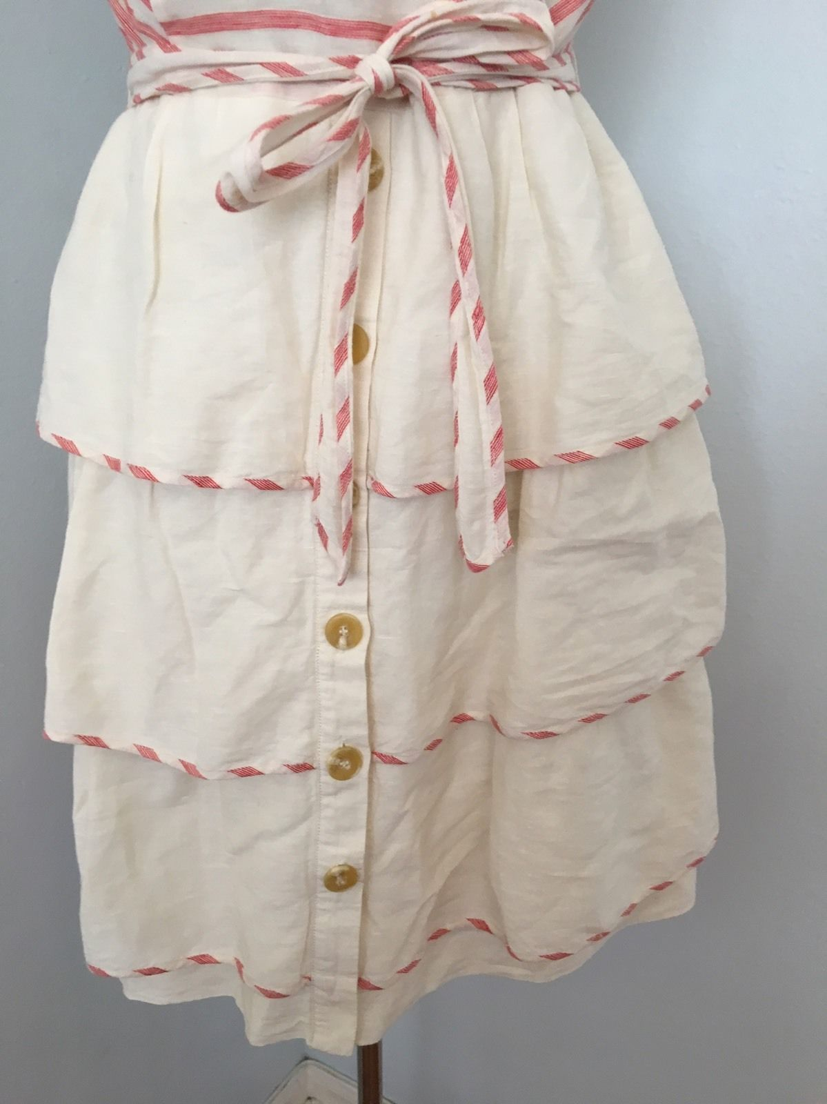 Maeve Anthropologie Sweet Shoppe Dress 12 Ivory Red Striped Tiered Linen Sash