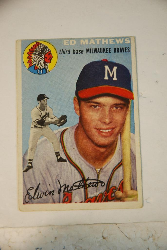 Primary image for 1954 Topps Eddie Mathews Baseball Card #30 Milwaukee Braves EX