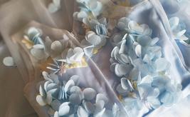 Full Flowers Embroidery Short Flower Girl Dress Blue Wedding Birthday Dress NWT image 6
