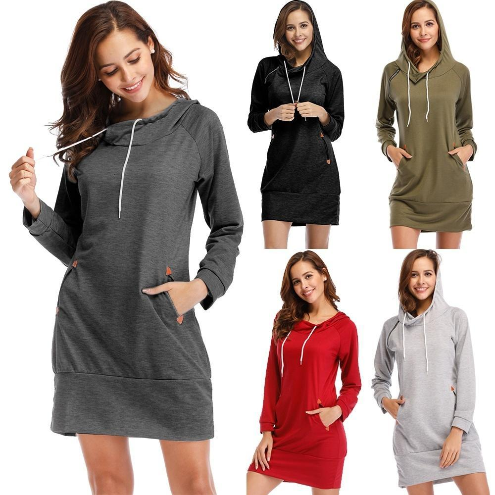 Plus Size S-5XL Women Fashion Hooded Long Sleeved Sweater Dress Zipper Pullovers