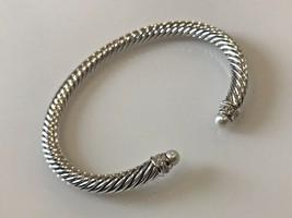 David Yurman S/S 925 5mm Cable PEARL & Diamonds Cuff Bracelet - $299.99
