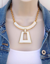 TRIFARI Necklace White Enamel Gold Plate, Modernist Egyptian Etruscan Style - $124.00