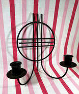 Fabulous Mid Century Modern Black Metal Wall Mount Double Candle Holder ... - $28.00