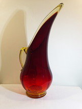 "Amberina 10"" Pulled Pitcher Dark Ruby Footed Long Neck Attached Curled H... - $30.54"