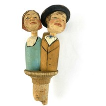 Vintage Carved Wood Couple Hand Painted Stopper Wine Bottle Cork Moves A... - $32.77