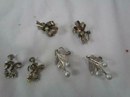 Lot of 3 Sets of Antique Vintage Screw Back Earrings Rhinestones Faux Pe... - $28.49