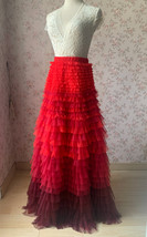 Red Tiered Maxi Skirt Outfit High Waisted Plus Size Tiered Long Tulle Skirts  image 2