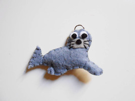 Seal felt ornament or key chain. Stuffed animal... - $10.35