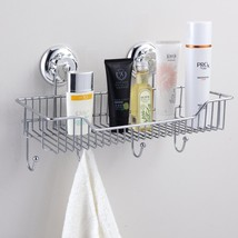 Shower Caddy Combo Basket Hooks Suction Cup Stainless Steel Bathroom Org... - $25.15